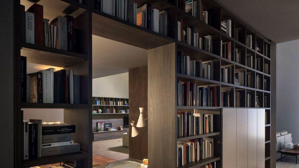 bibliothèque design bois séparation