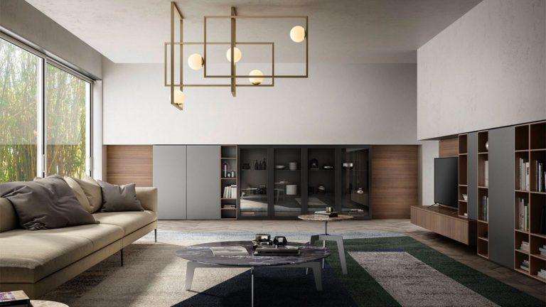meuble télé style industriel gris et bois