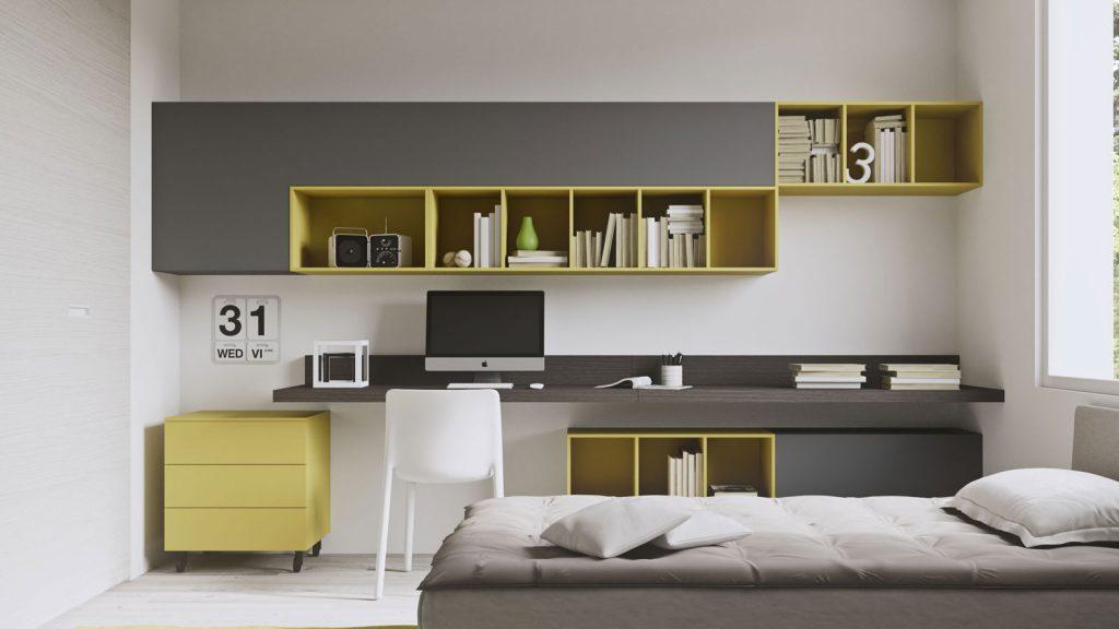bureau ado jaune et gris