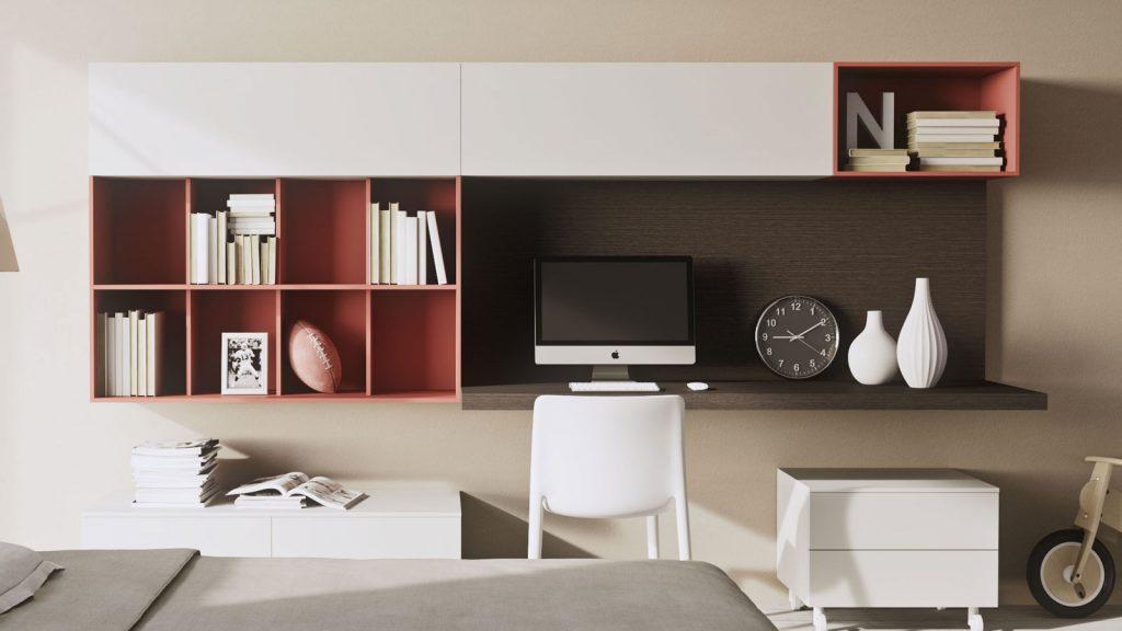 mobilier de bureau annecy rouge et blanc