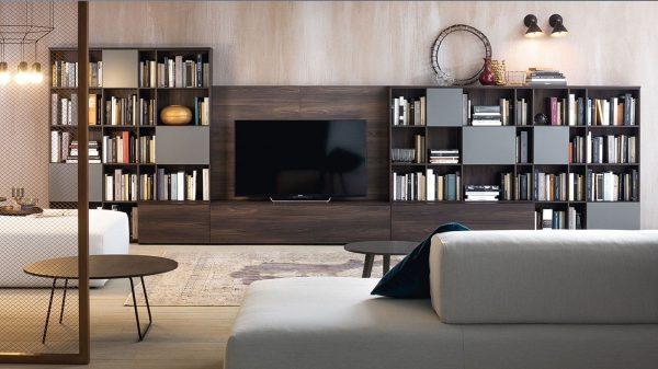 meuble tv bibliothèque gris bois foncé