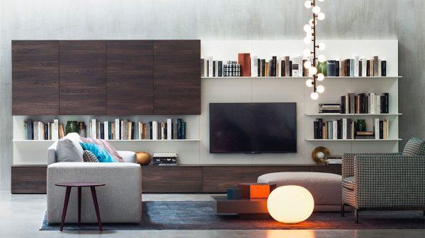 meuble tv mural bois foncé blanc