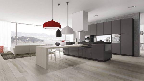cuisine design blanche et grise table