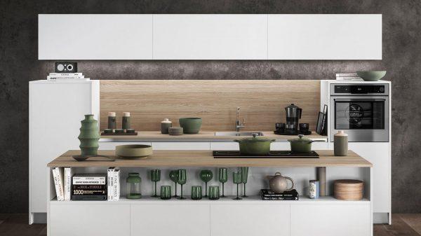 cuisine blanche et bois vue de face