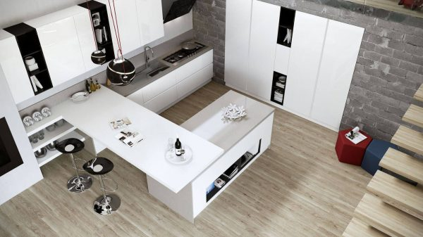 cuisine blanche et noire vue haute