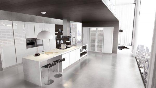 cuisine blanche en verre laquée vue en hauteur
