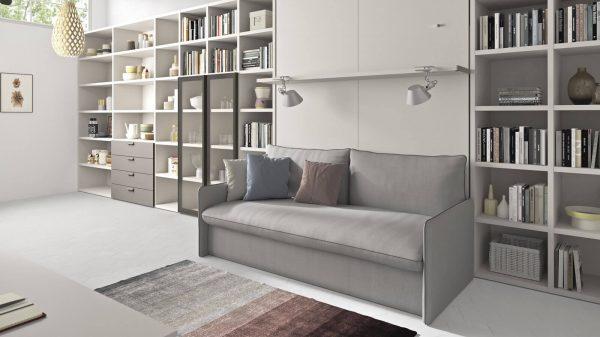lit escamotable canapé gris