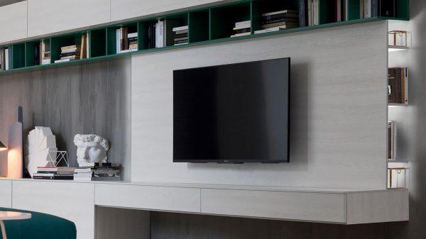 meuble tv suspendu vert et gris genève