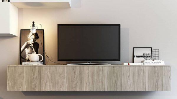meuble tv suspendu bois thonon